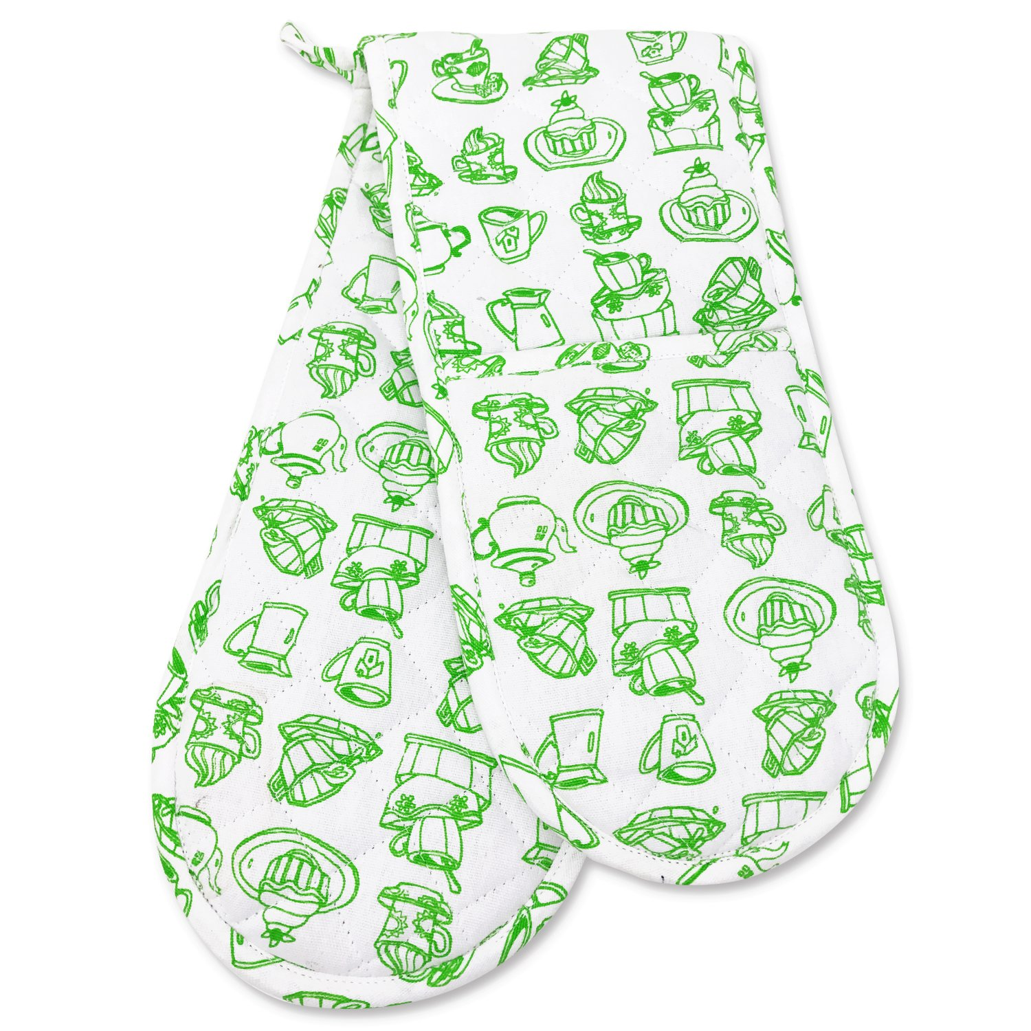 Smart Home, Green, Kitchen, 1 Piece, Long Double Oven Mitts Gloves, Heat Resistant, 100% Cotton, Extra Thick, Quilted