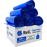 Reli. SuperValue 33 Gallon Recycling Bags (120 Count) Blue Trash Bags 30 Gallon - 33 Gallon Garbage Bags, (Made in USA) Recyc