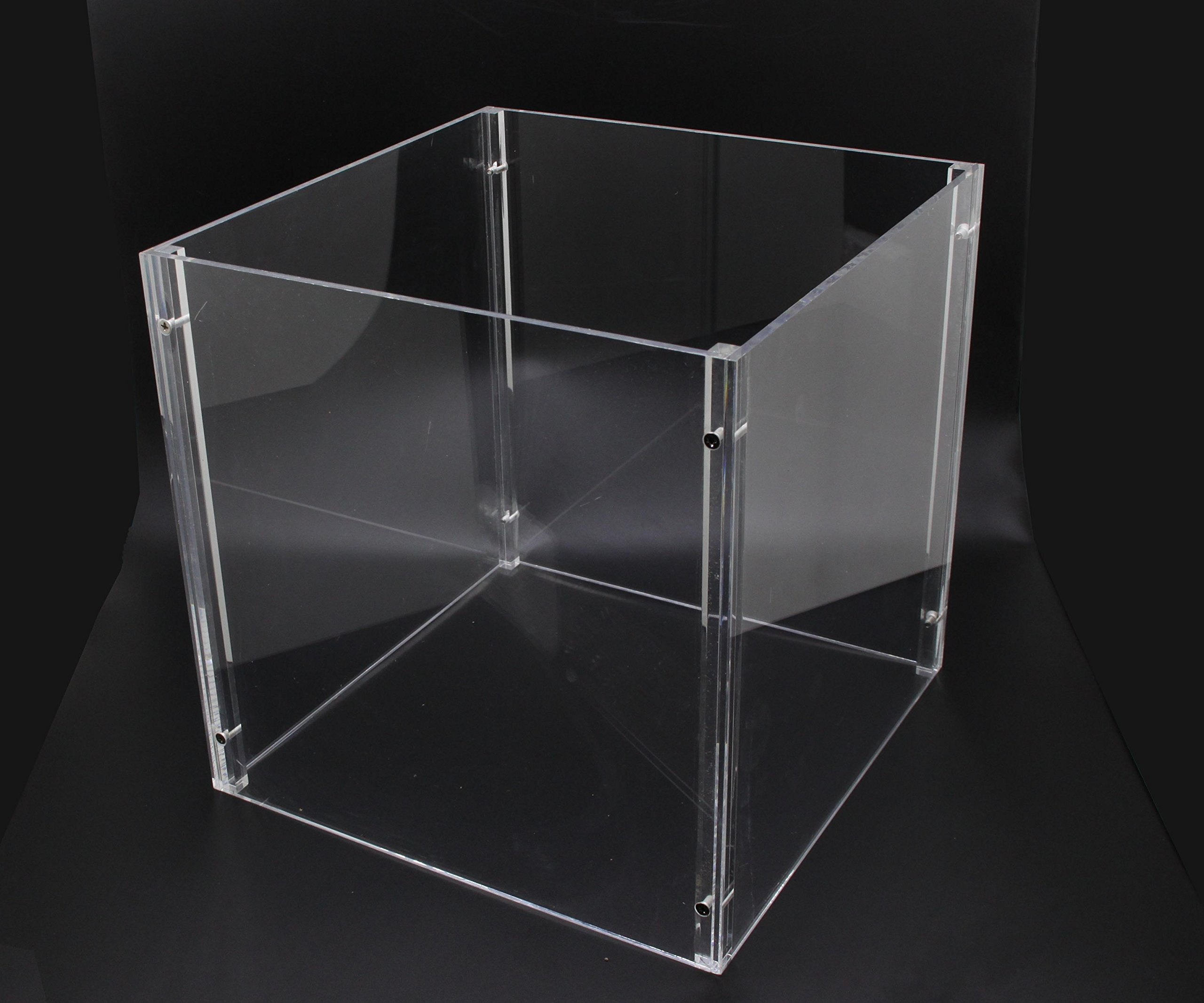 FixtureDisplays 4-Sided Separable Clear Plexiglass Acrylic Transparent 12'' Cube Display 4 T-Shirts, Clothing 13809