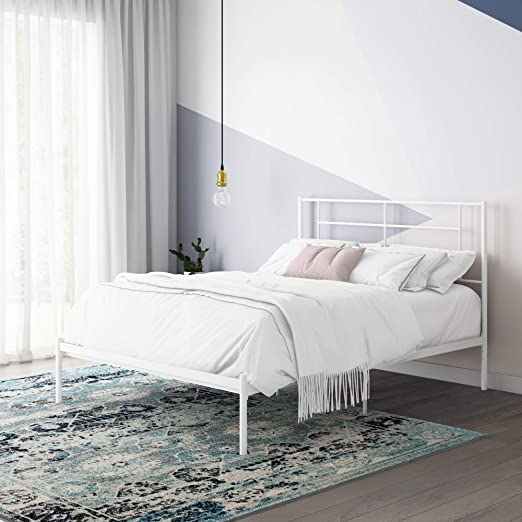 Amazon.com: REALROOMS Praxis Metal Bed, Queen Size Frame ...
