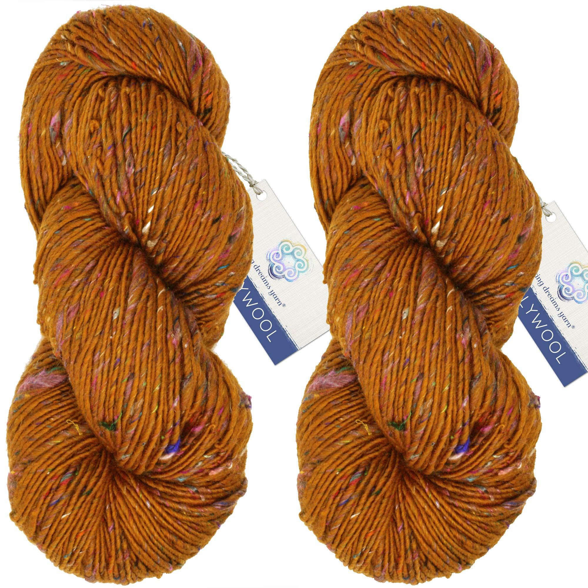 Living Dreams Yarn BOLLYWOOL DK. Super Soft Merino and Sari Silk. Colorful Tweed Yarn with Boho Flair. Homespun in USA. Two Pack, Taj Mahal