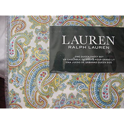 Ralph Lauren Blue Red Yellow Green Paisley on White Sheet Set Queen: Home & Kitchen