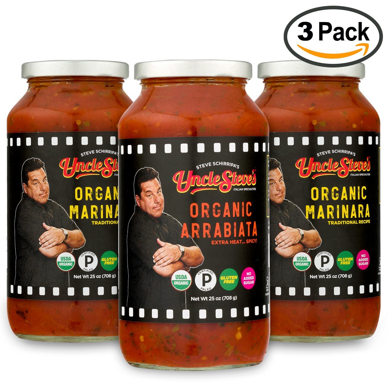Tomato Sauce by Uncle Steve's - (2 Marinara 1 Arrabiata) for Spaghetti, Pasta or Pizza