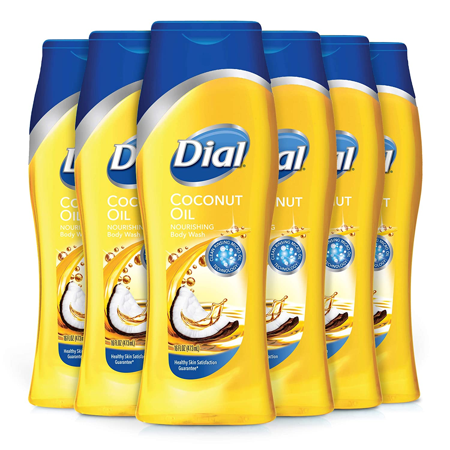 Dial Body Wash, Coconut Oil, 16 Ounces (Pack of 6)
