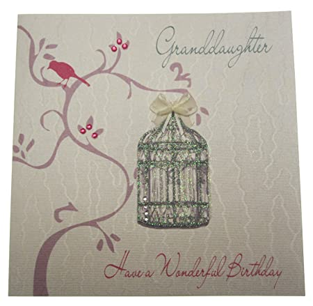 WHITE COTTON CARDS WB259 Granddaughter Have A Wonderful Birthday Handmade Card Amazoncouk Kitchen Home