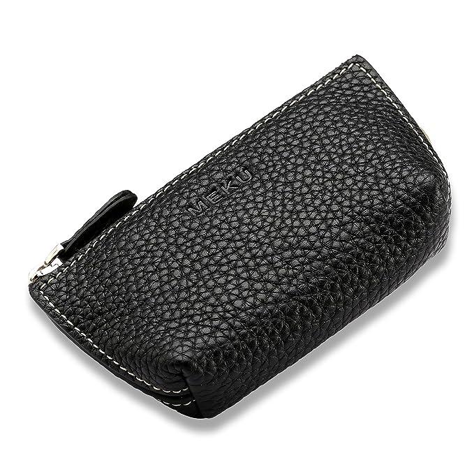 Amazon.com: MEKU - Monedero de piel con cremallera para ...