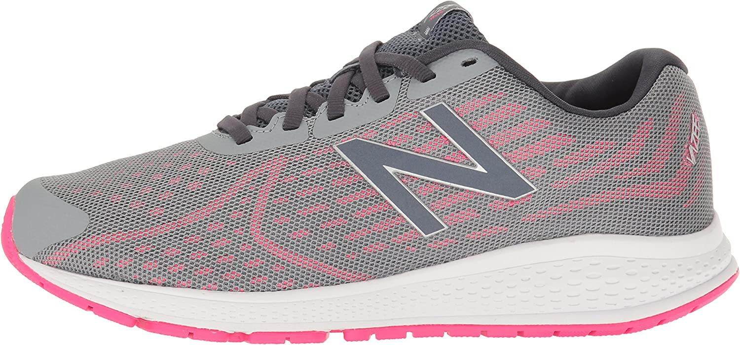 New Balance Girls Kjrus Running Shoe, Grey/Pink, 3 Wide US Little Kid: Amazon.es: Zapatos y complementos