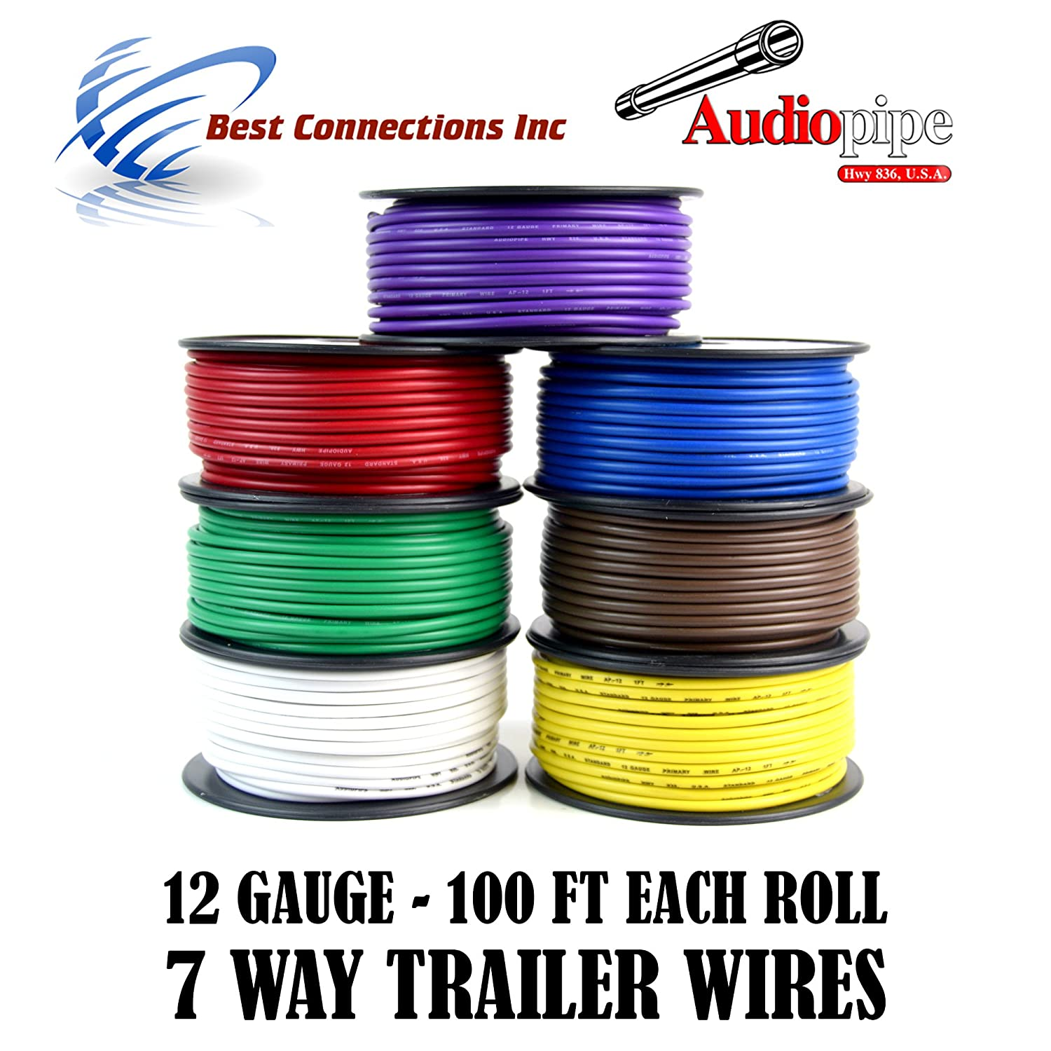 Trailer Wire Light Cable For Harness 7 Way Cord 12 Gauge Wiring 100ft Roll Rolls Automotive