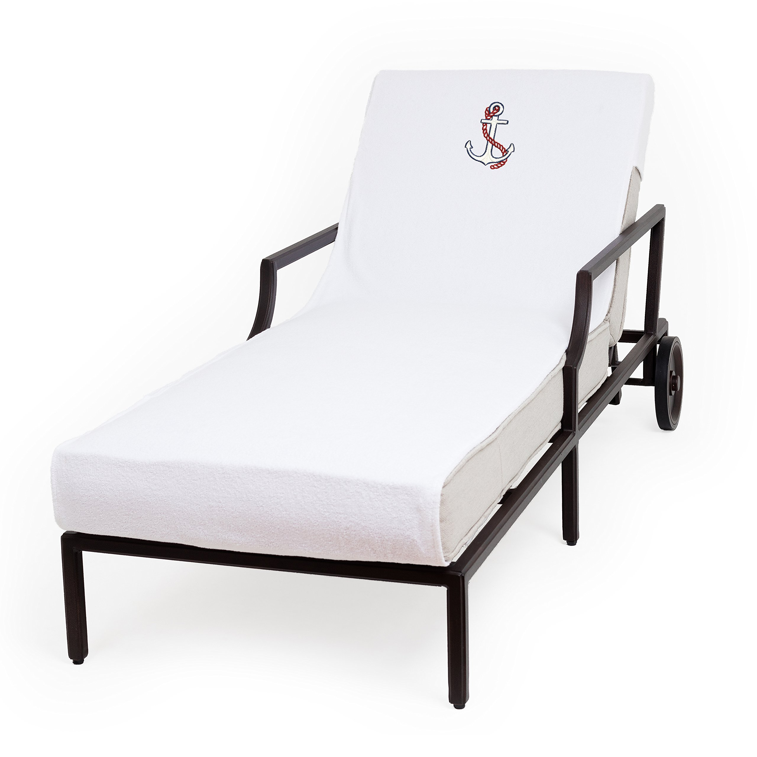 Linum Home Textiles CL00-SNP-ANC Anchor N/P Chaise Lounge Cover, White