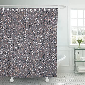 Amazon Com Emvency Shower Curtain Stone Dark Terrazzo Floor