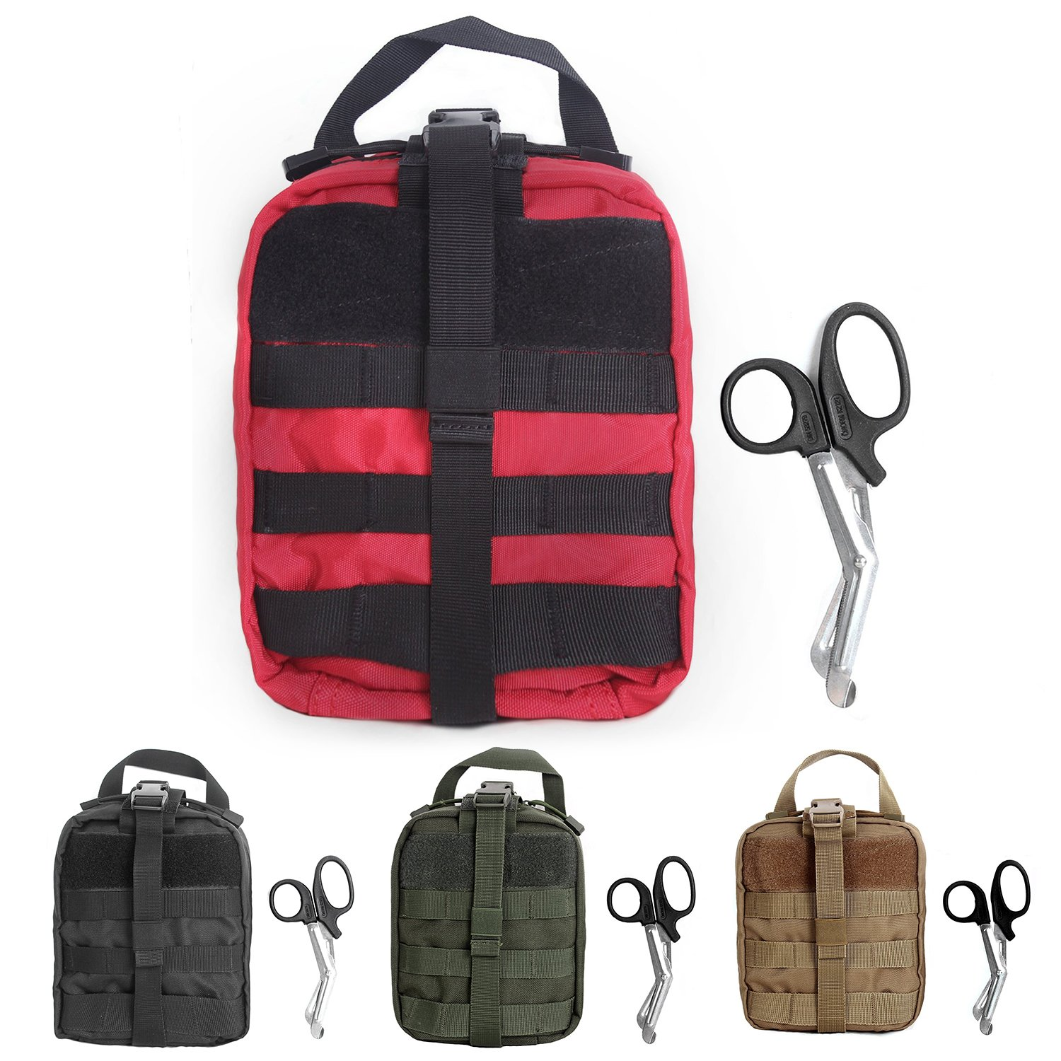Tactical MOLLE Rip-Away EMT Medical First Aid Utility Pouch (RED2)