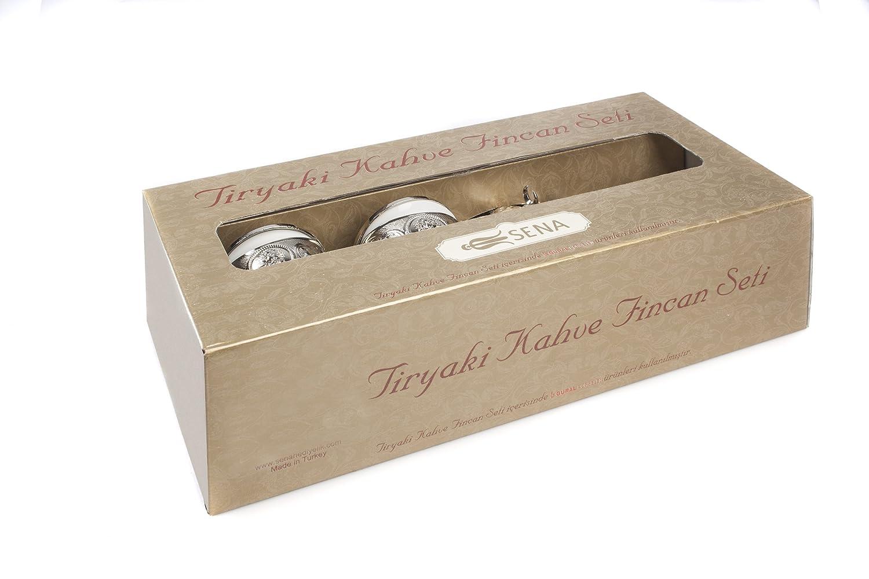 Tiryaki único Oriental 11 piezas Café Turco Juego de café para 2 (2 tazas de porcelana taza de cobre, 2 soportes, 2 tapas, 2 platillos, 1 bandeja, ...