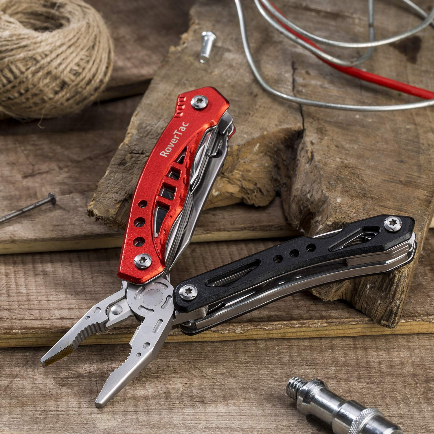 12 in 1 Multi tool Pliers RoverTac Pocket Knife with Durable Nylon Sheath, Multitool with Pliers, Bottle Opener, Screwdriver, Saw-Perfect for Outdoor, Survival, Camping, Fishing, Hiking (red) by RoverTac (Image #5)