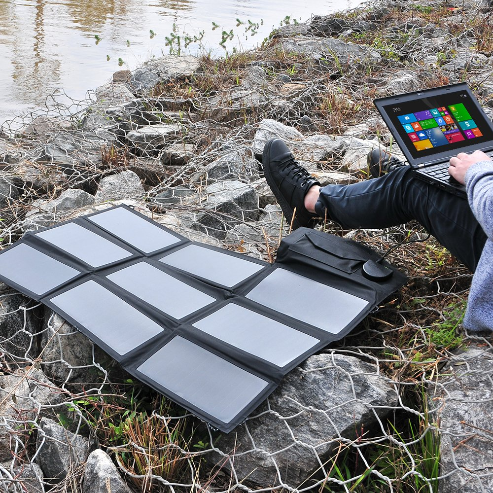 Solar Charger, ALLPOWERS 60W Foldable SunPower Solar Panel (Dual 5V USB with iSolar Technology+18V DC Output) for Laptop, ipad, Smartphone, iphone, Samsung, and 12V Car, Boat, RV Battery by ALLPOWERS (Image #4)