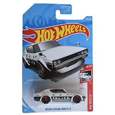 Hot Wheels Rescue 4/10 [White/Black] Nissan Skyline 2000 GT-R 'Police Logo' 160/250: Toys & Games