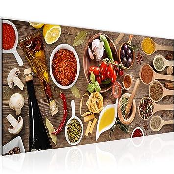 Bilder Küche - Gewürze Wandbild Vlies - Leinwand Bild XXL Format Wandbilder  Wohnzimmer Wohnung Deko Kunstdrucke Bunt 1 Teilig - MADE IN GERMANY - ...