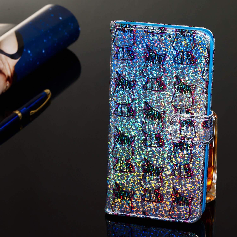 A20e H/ülle Handyh/ülle Kompatible mit Samsung Galaxy A20e Flipcase 3D Glitzer Sparkle Tasche Handytasche Geldklammern Wallet Schutzh/ülle Magnet St/änder Anti-Fall Kunstleder Etui Einhorn