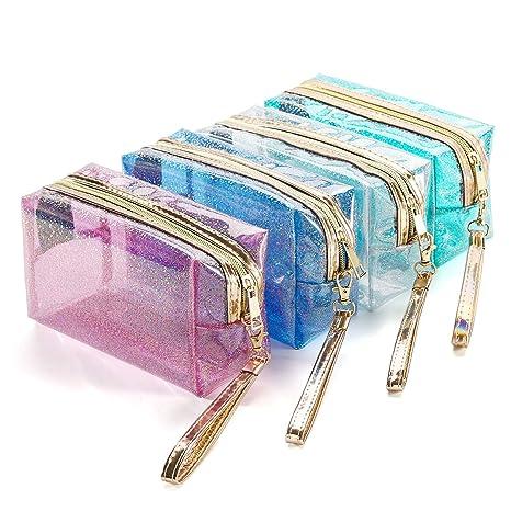 Amazon.com: 4 bolsas de cosméticos impermeables de PVC ...