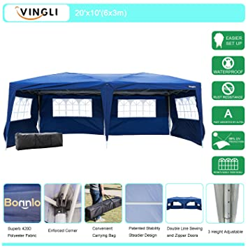 VINGLI Heavy Duty 10u0027x20u0027 EZ Pop Up Canopy Tent with 6 Removable Side  sc 1 st  Amazon.com : 20x10 canopy tent - memphite.com