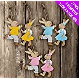 JayMark Pack of 6 (Mr & Mrs Bunny Rabbit x 3) Easter Decorations - Great For Easter Ornaments & Displays