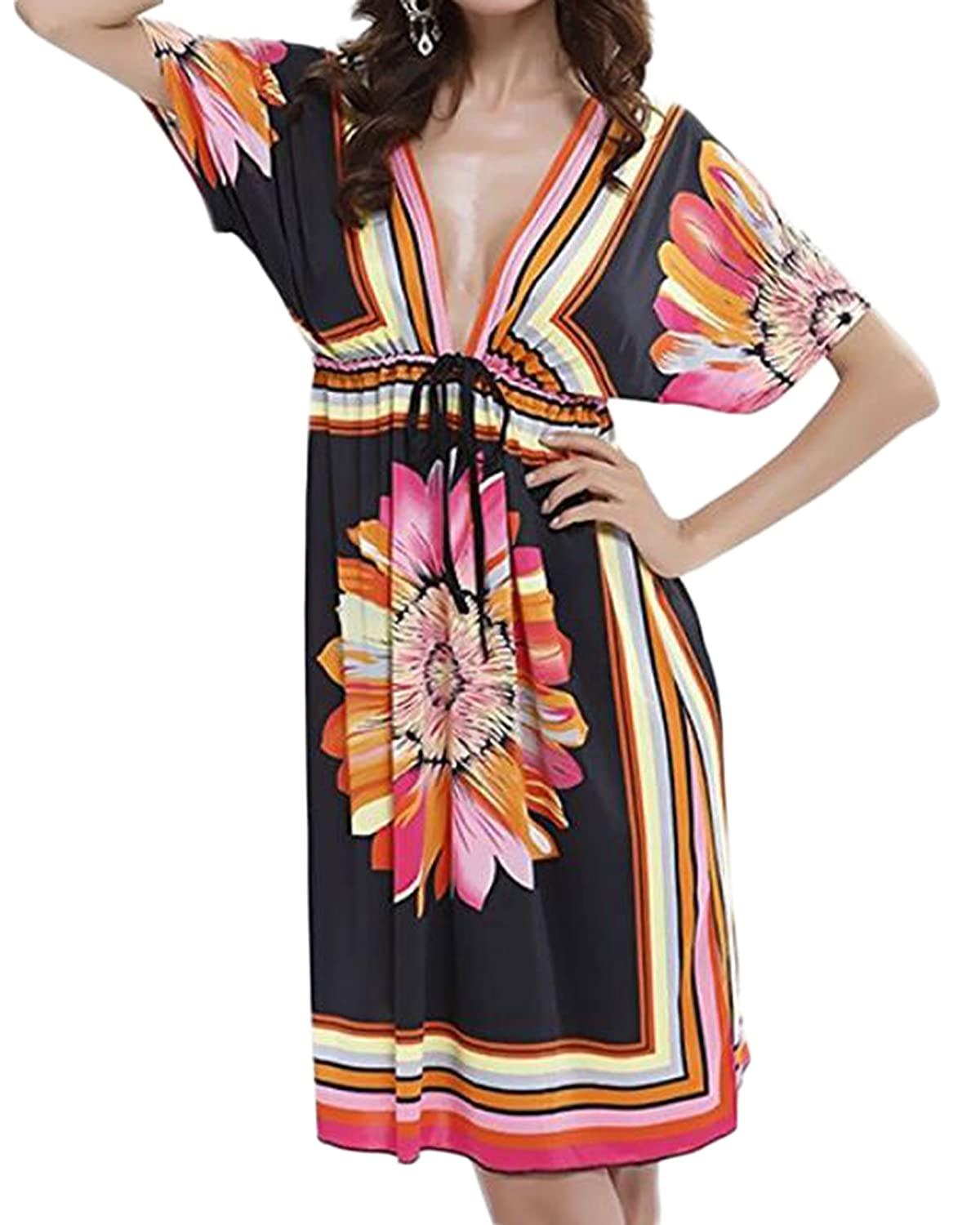 47f5bbf0c4 Fits size US 4-16. FEATURES: Sexy deep v-neck, adjustable waistband, flora  print, cool fabric and loose style. OCCASIONS: Summer beach wear ...
