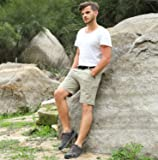 MIER Men's Quick Dry Nylon Cargo Shorts Lightweight Hiking Shorts with Zipper Pockets, Partial Elastic Waist, Water Resistant, Rock Grey, XXL