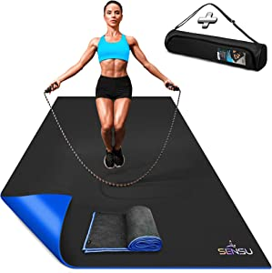 Sensu Large Exercise Mat – 6'x 4' x 8.5mm Extra Thick Workout Mats for Home Gym Flooring - Perfect for Jump Rope, Weights, Cardio and Fitness – Durable High Density Non-Slip Workout Mat- Shoe Friendly