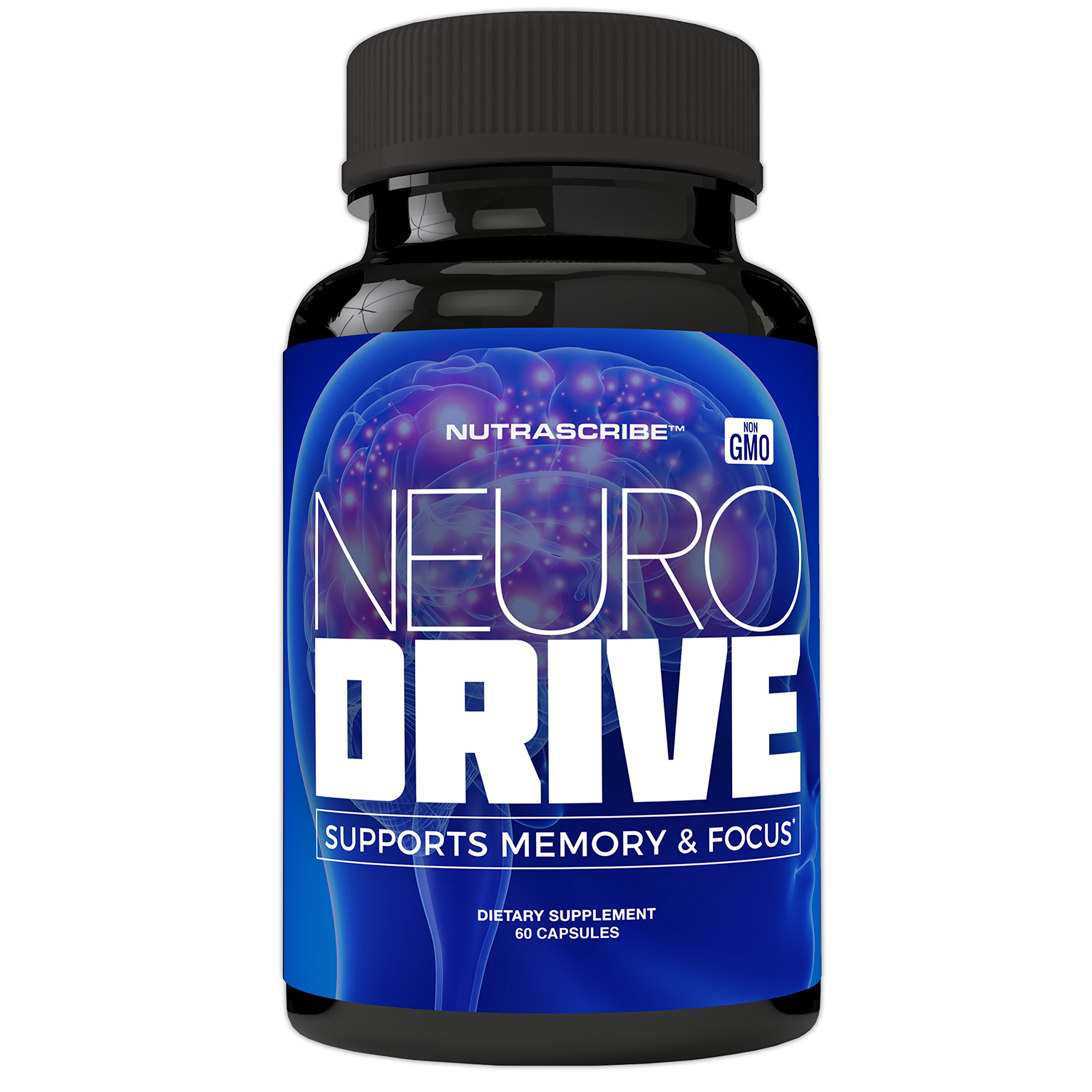 NeuroDrive Premium Brain Health and Focus Supplement, Memory and Mental Clarity Support - Natural Nootropic Brain Function Supplements - Help Boost Concentration and Alertness - Mental Energy Booster