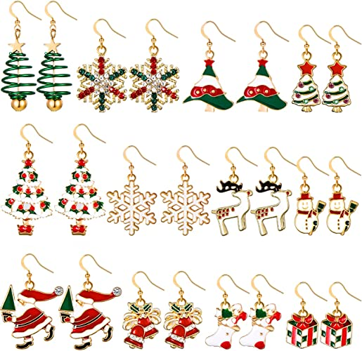 Santa Claus Necklace Snowflakes Drop Earrings Cute Christmas Decors Jewelry Gift