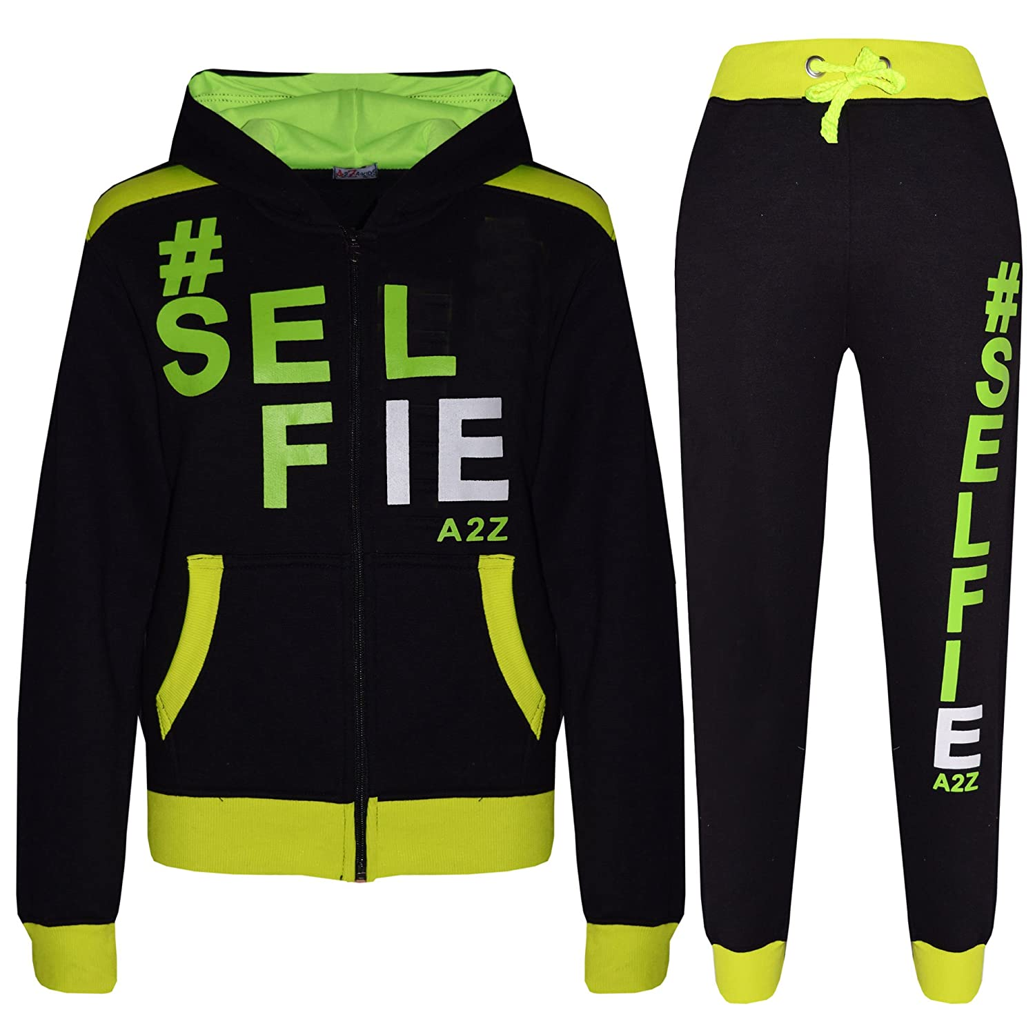 A2Z 4 Kids® Kids Tracksuit Girls Boys Designer's #Selfie Jogging Suit Hooded Top Bottom 7-13