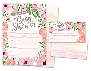 Amazon baby shower invitations and diaper raffle tickets set baby shower invitations and diaper raffle tickets set of 25 pink floral fill in the filmwisefo
