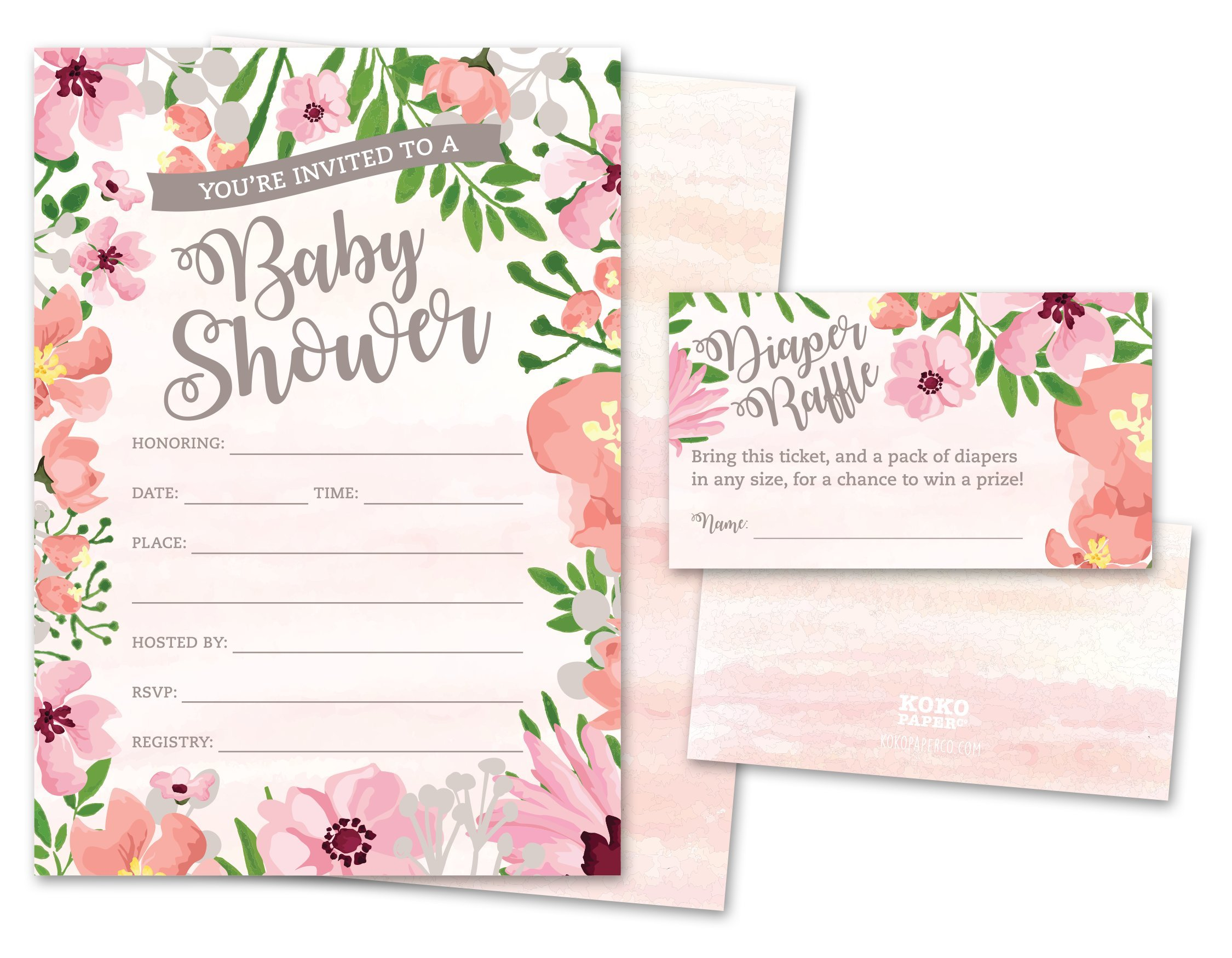Baby Shower Invitations And Diaper Raffle Tickets Set Of 25