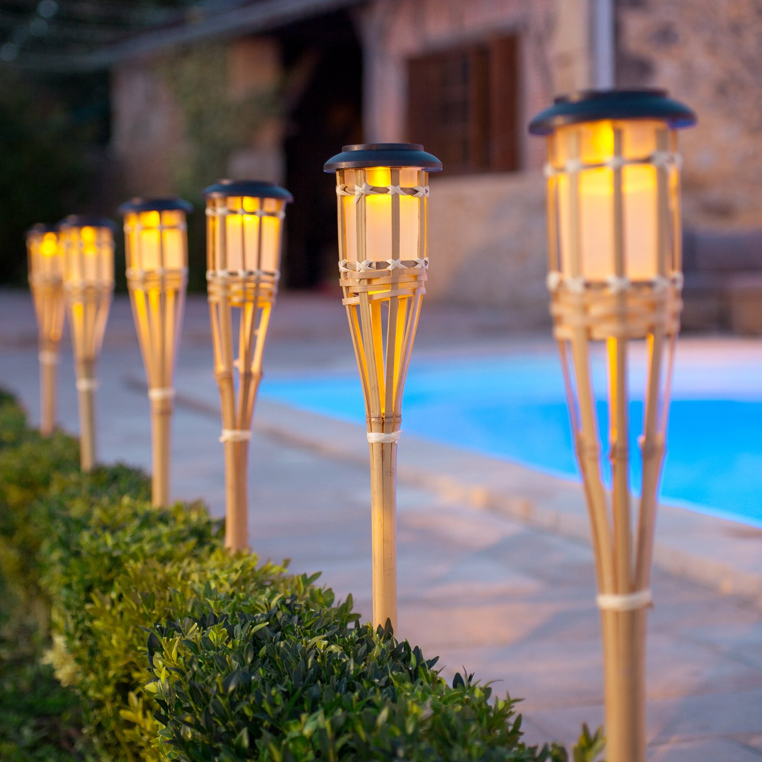 outdoor torch lighting. Set Of 10 Large Solar Powered LED Bamboo Garden Torches By Lights4fun: Amazon.co.uk: \u0026 Outdoors Outdoor Torch Lighting R
