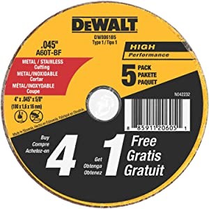Dewalt DW8061B5 4 x 0.045 Inch Metal and Stainless Steel Cutting Wheels , 4 Inch by 0.045-Inch