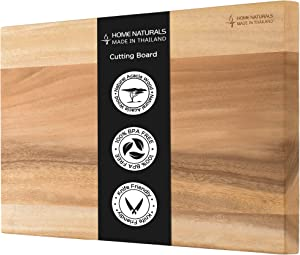 "Home Naturals Cutting Board, Made from Thailand 100% Acacia Wood - BPA Free - Eco friendly - Large Size 18.9"" x 12.6"" x 1.2"" Butcher Block Chopping Board for Kitchen"