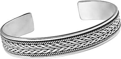 TreasureBay Bracelet jonc pour homme en argent sterling 925 avec d/étails tress/és