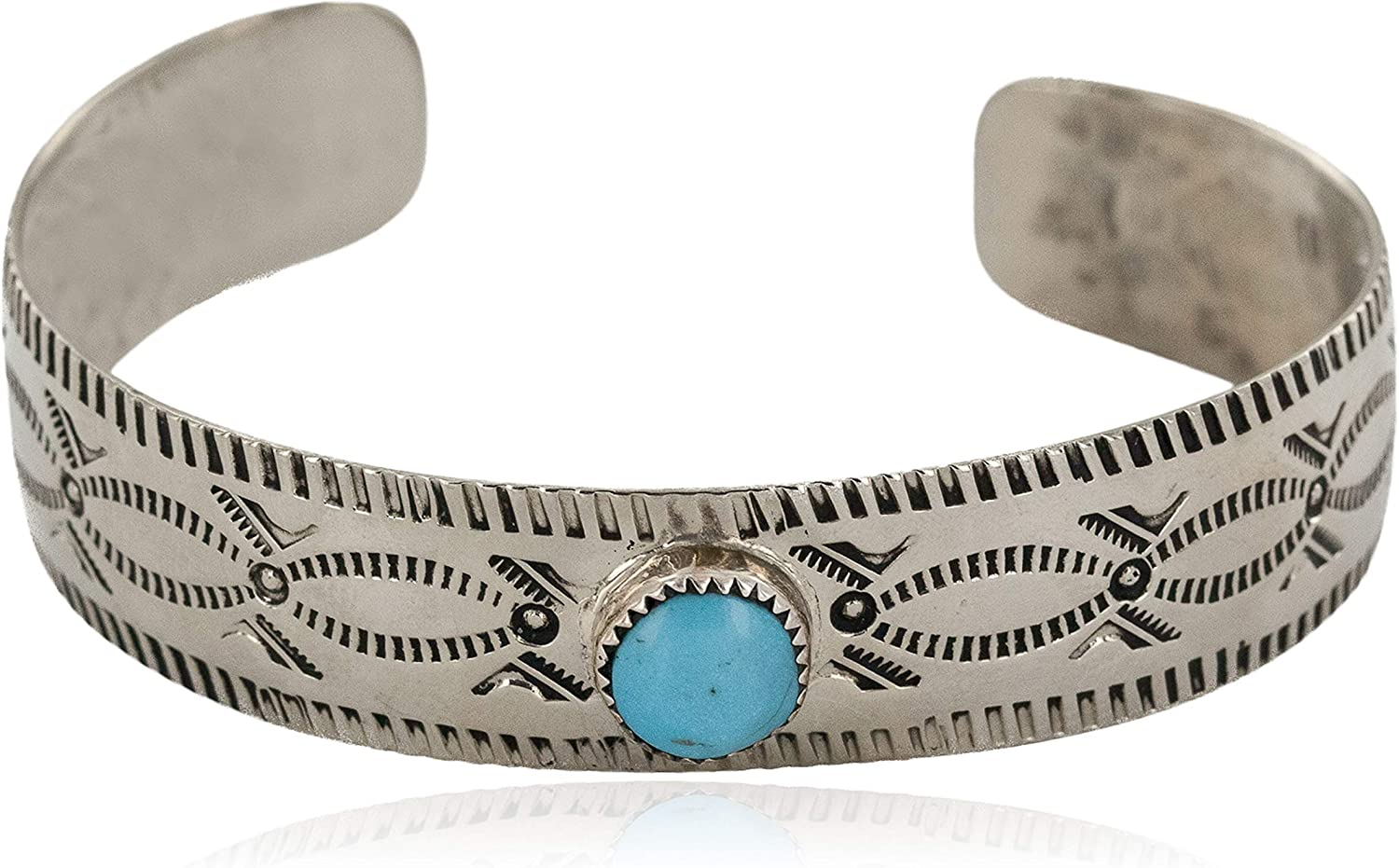 $180Tag Certified Nickel Navajo Natural Turquoise Native Cuff Bracelet 12796-81 Made by Loma Siiva