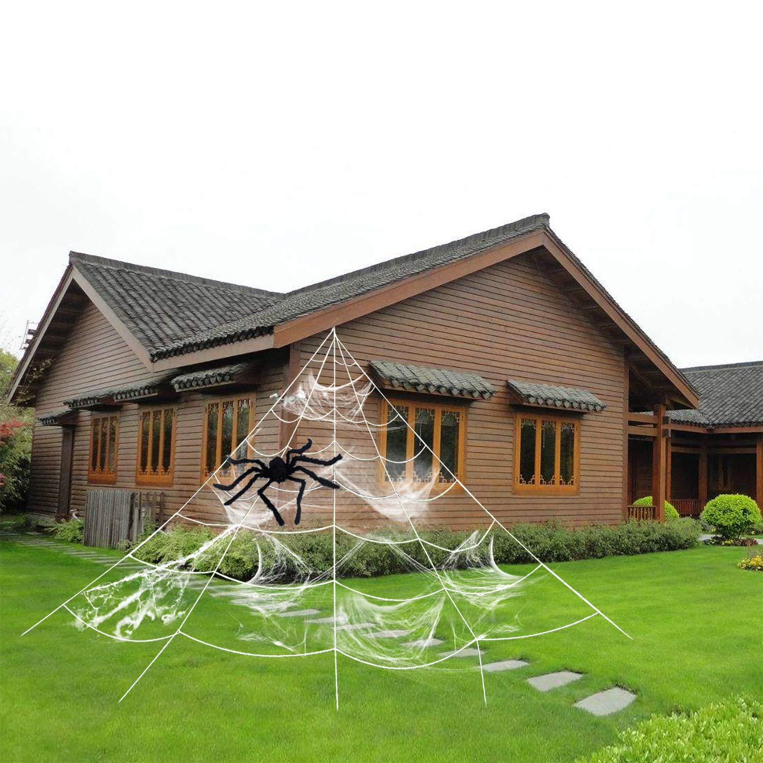 HYRIXDIRECT Outdoor Halloween Decorations Halloween Spider Decoration Triangular Mega Spider Web with Stretch Cobweb Set Party Yard Decor (A Large Spider Included)