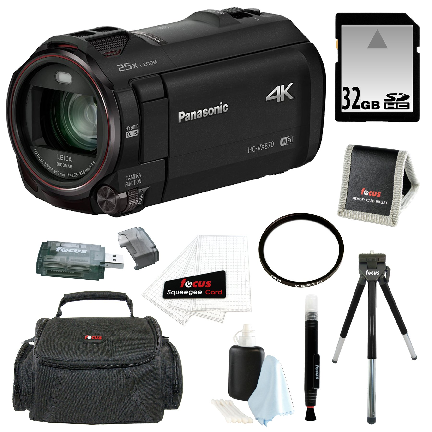 Panasonic HCVX870K HC-VX870K 4K Ultra HD Camcorder with Wireless Smartphone Twin Video Capture with 32GB SD Card, Tiffen 49mm UV Filter, SLR Case and Accessory Bundle by Panasonic