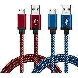 Micro USB Cavo, BeneStellar [2 Pack] Premium Micro USB Cavo Nylon di Alta Velocità USB 2.0 un Maschio al Micro B Sync e Cavi di Ricarica per Samsung, HTC, Nexus, Motorola, Nokia, Android e Altro (rosso e blu, 0,3m)