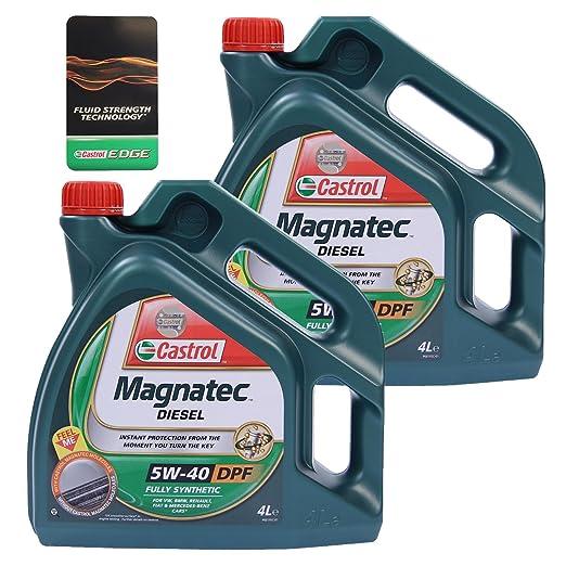 Aceite para motor Diesel Castrol Magnatec 5W-40 DPF 31783305, dos garrafas de 2 x 4 L: Amazon.es: Coche y moto