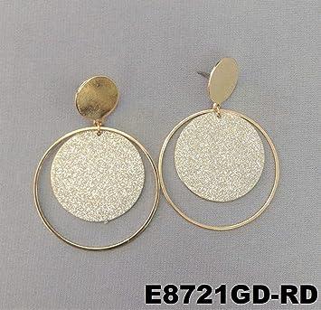 7d2462555 Amazon.com : Elegant Unique Silver Glitter Dangle Charm Gold Finish Post  Stud Hoop Earrings For Women Set : Beauty