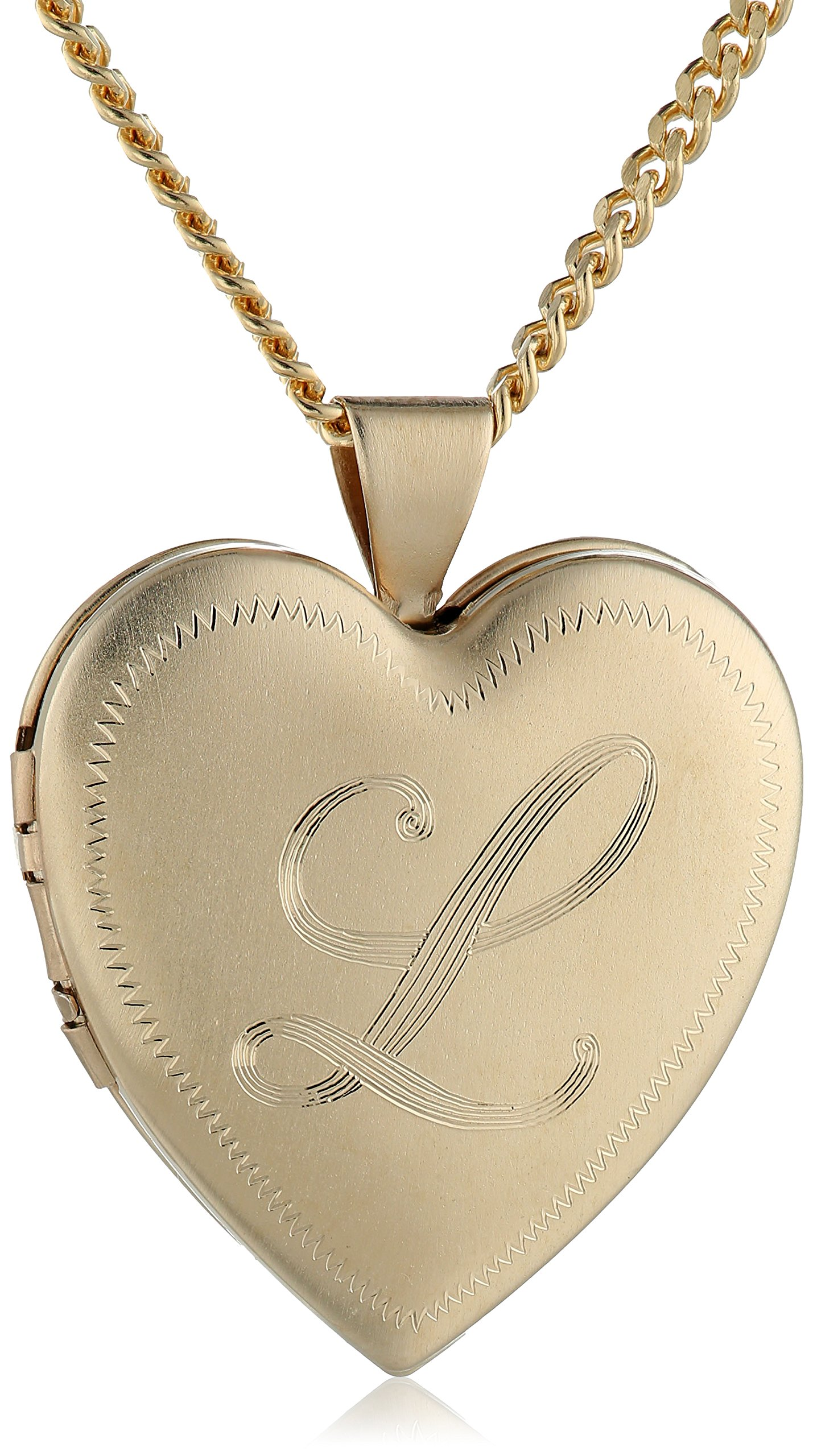18k Gold-Plated Initial''L'' Heart 26mm (1'') Locket Necklace, 24''