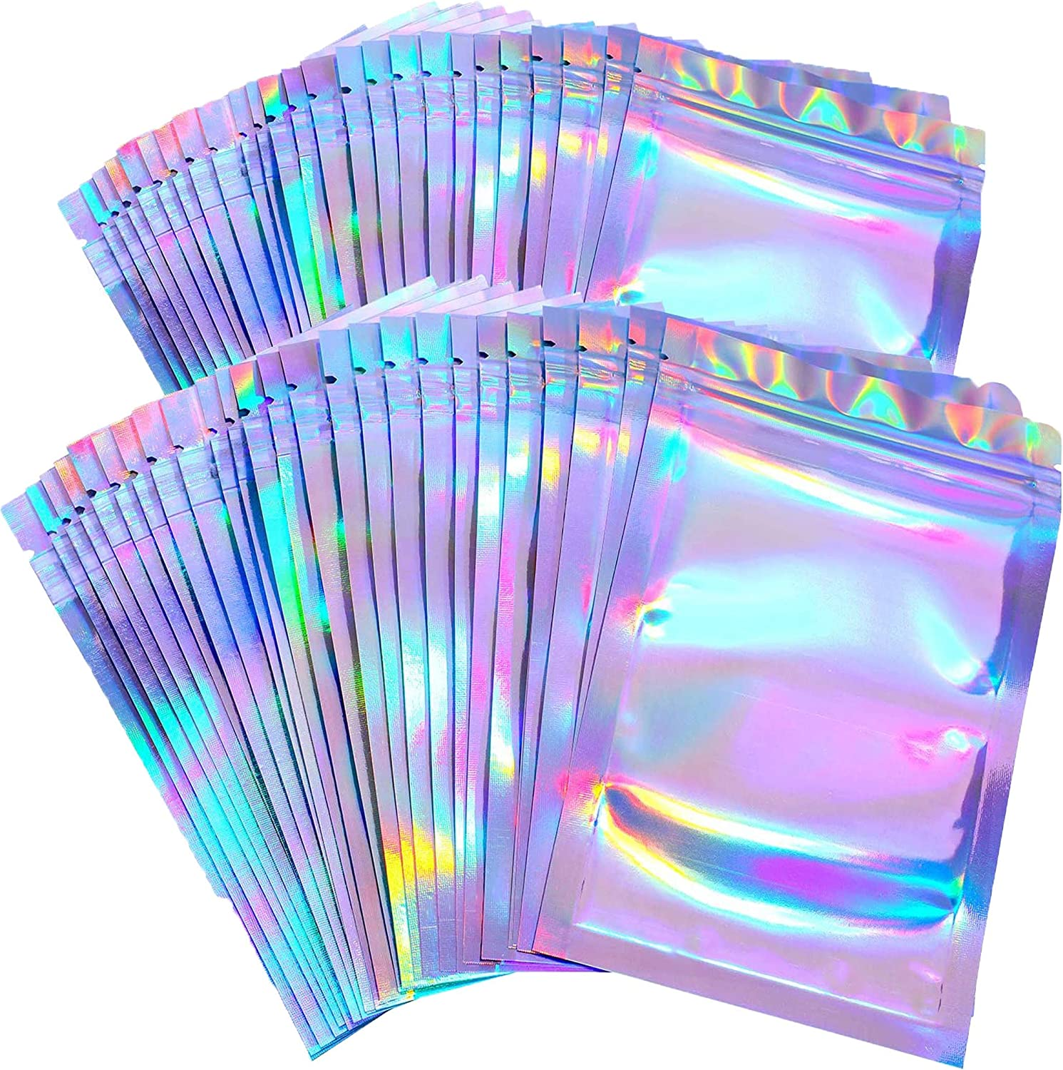 100 Pack Smell Proof Bags with Ziplock - Resealable Mylar Bags with Clear Window - Package Bags - Food Storage Bags - Lip Gloss Bags Packaging (Holographic, 4in x 6in)