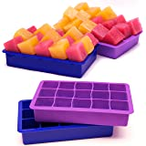 Perfect Size Silicone Ice Cube Tray, Set of 2, FREEZERS,No Odor or Aftertaste!
