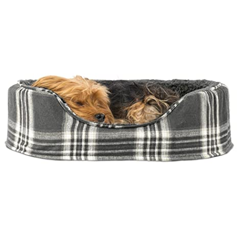 Amazon.com: Cama ovalada para perro o gato Furhaven, M, Gris ...