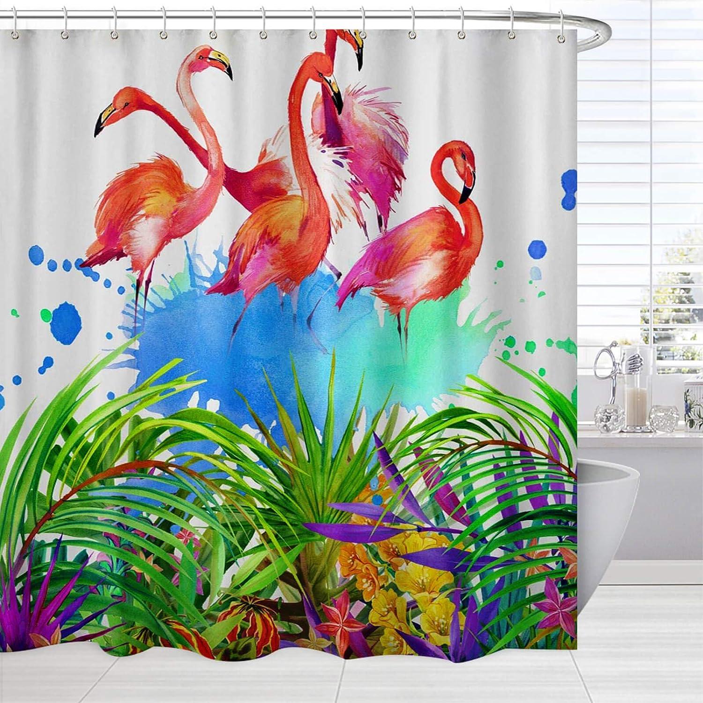 Uplifting Feel Good Bathroom Decor Pink Flamingos Shower and Bath Curtain Set
