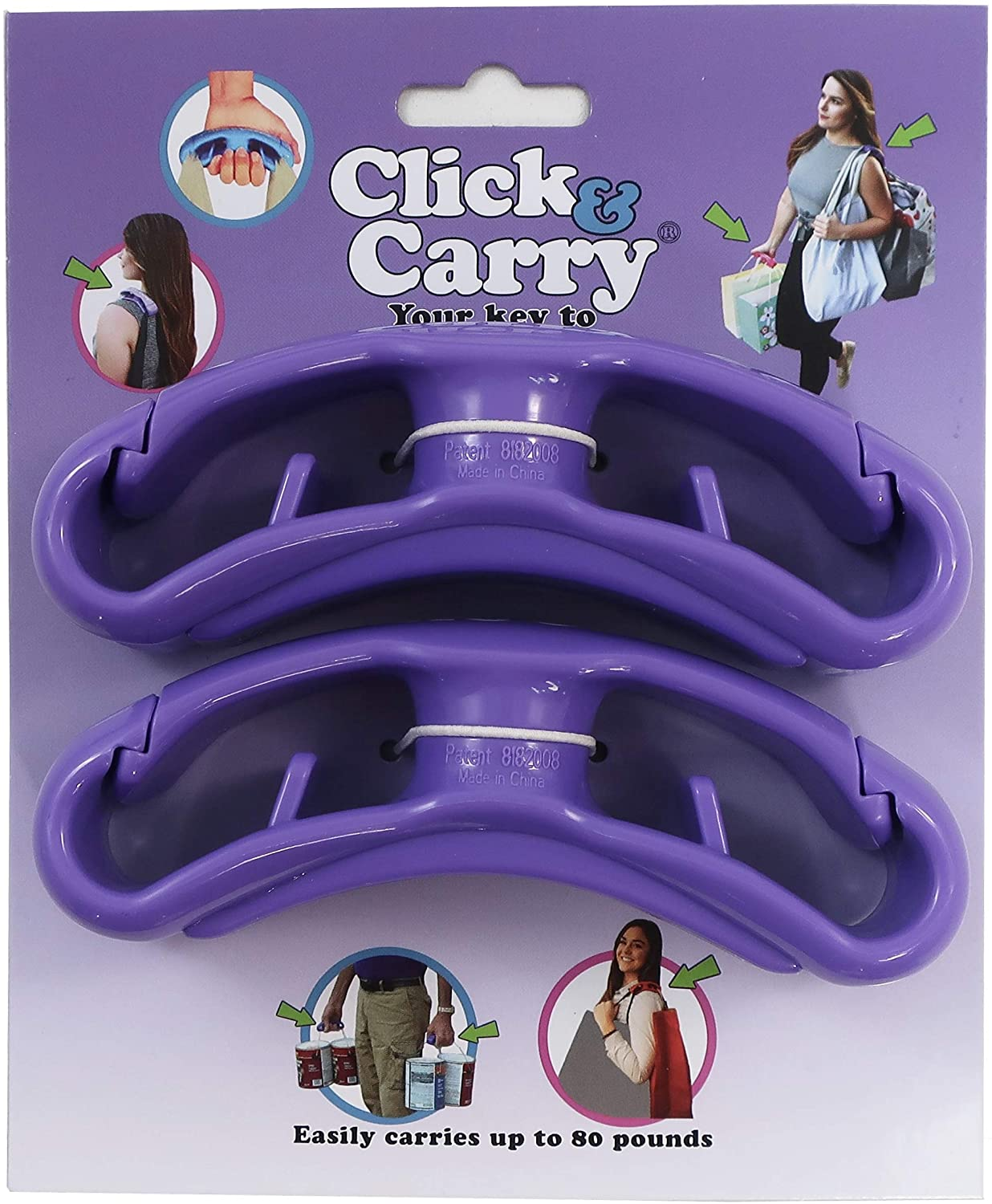 Click & Carry Grocery Bag Carrier with Soft Cushion Grip. Use as a Hands Free Grocery Bag Carrier, Plastic Bag Holder, Sports Gear Carrier & More. Click and Carry With Ease