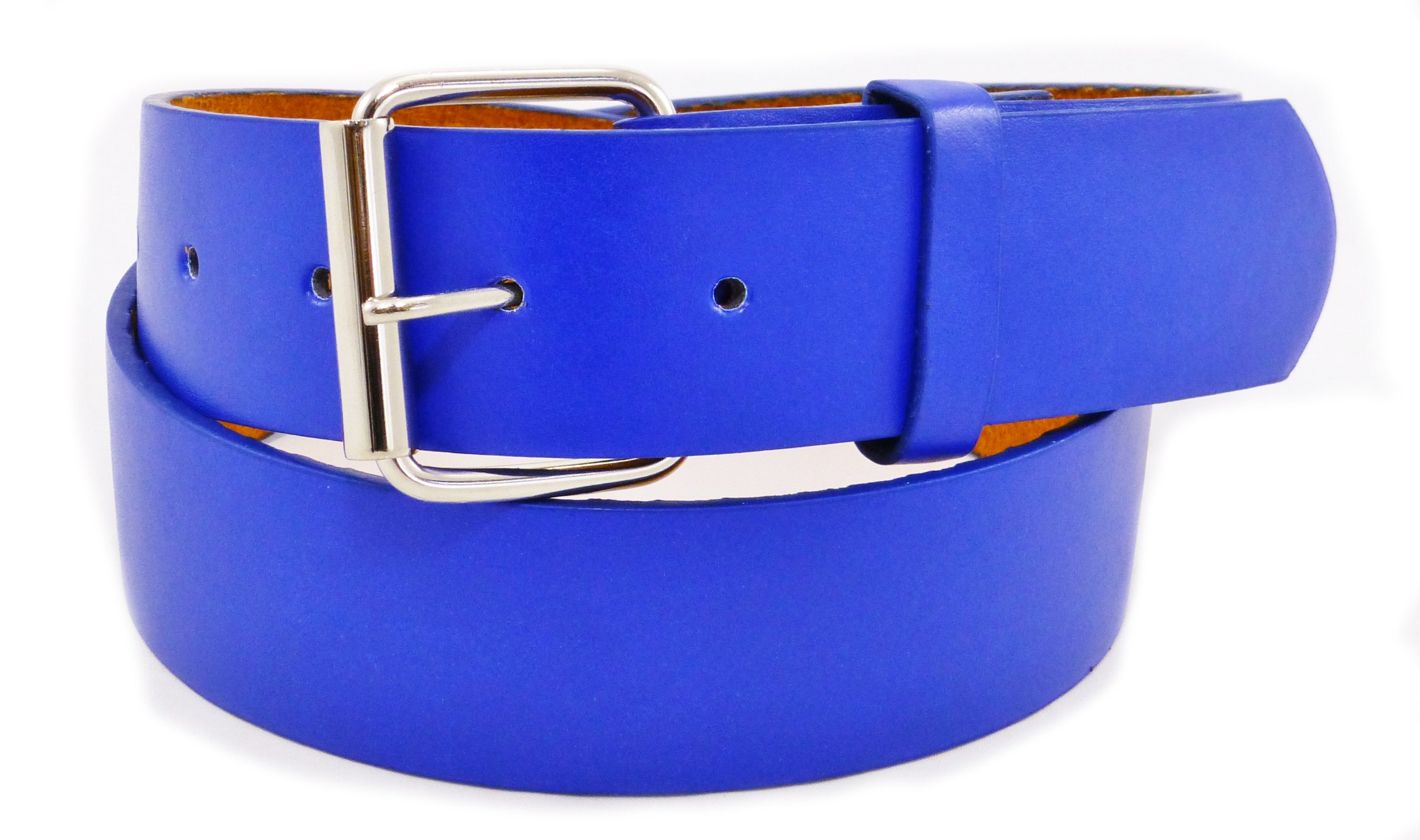 JTC Belt Genuine Faux Plain Leather Belt Detachable Buckle, Snap On. Blue. Large