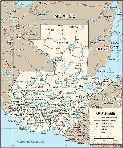 Amazon.com: Map Poster - Guatemala Transportation Map 20